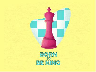 Born to be king logo branding minimal procreate design affinitydesigner graphicdesign vector quotes illustraion chess king