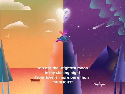 Day 'n' Night website flat character poem ui logo design affinitydesigner minimal vector illustrator procreate illustration graphicdesign