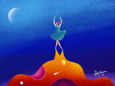 Ballerina Dream sky galaxy illustraion logo design branding affinitydesigner minimal vector illustrator procreate illustration graphicdesign ballerina