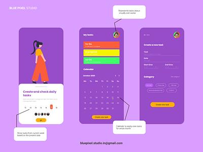 Task app Ui / Ux desgin website design agency web design ui design website ui graphicdesign illustrator procreate design branding illustration task app app ui design uidesign