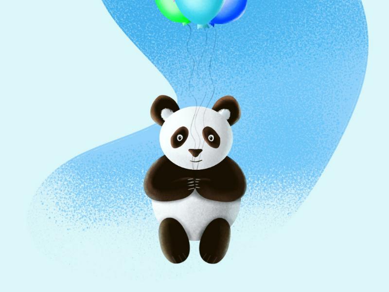 Flying panda cute kids graphicdesign panda illustration