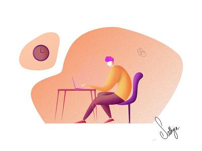 Working time design typography illustraion graphicdesign branding affinitydesigner minimal vector illustrator procreate illustration