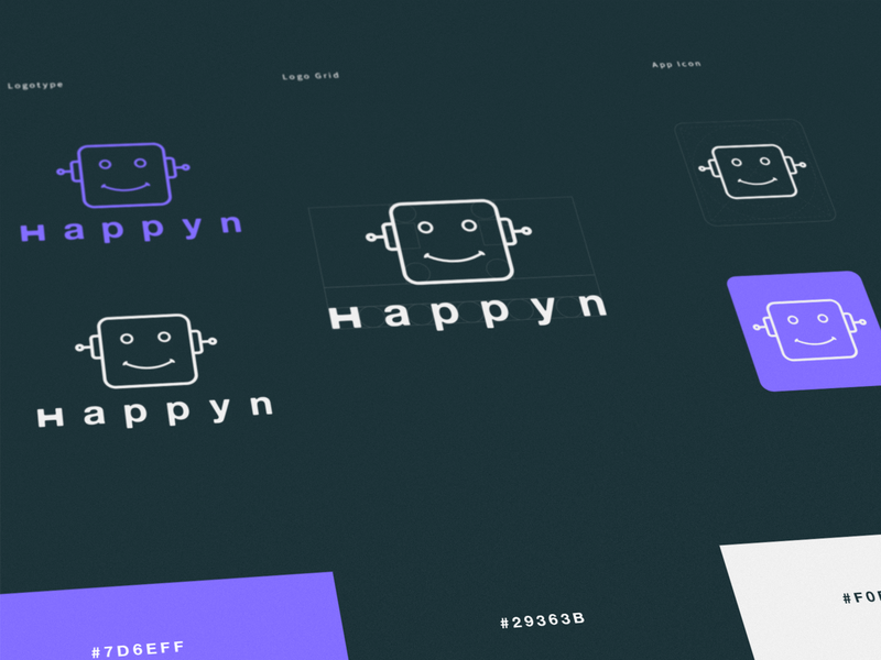 Happyn Logotype typography grid icon app branding agency code ia ui robot chat dark blue color logotype logo branding
