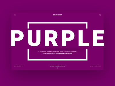 Color Picker - Test Color colorful api landing color purple code developer ux design ui homepage page web design studio minimal