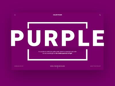Color Picker - Test Color colorful api landing color purple code developer ux design ui homepage page web design studio minimal