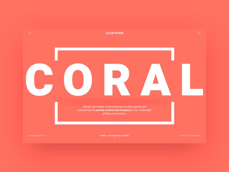 Color Picker - Pantone Color of the Year web ui ux user studio page minimal coral colorfull color developer code api pantone