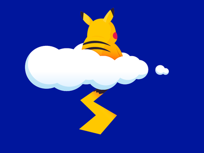 """Cloudy with a chance of """"Chu"""" clean simple minimal fun yellow pokemon blue pikachu illustration"""