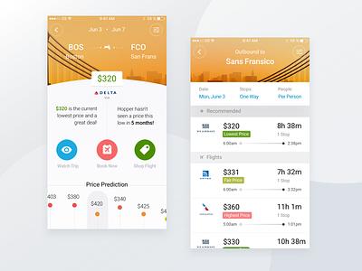 Hopper App mobile tickets plane minimal clean iphone ios flights travel ux ui app