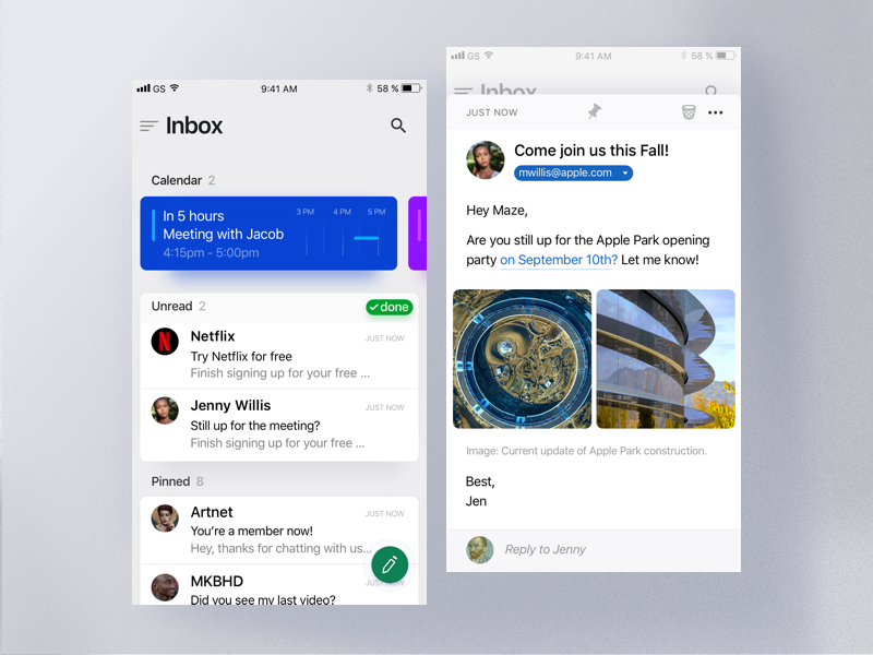 Maven - iOS Mail App clean ux ui iphone email typography card apple ios mail icon app