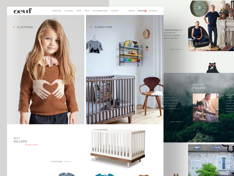 Children Clothes/Furniture clean ux ui cart shopping shop furniture children photography typography ecommerce website