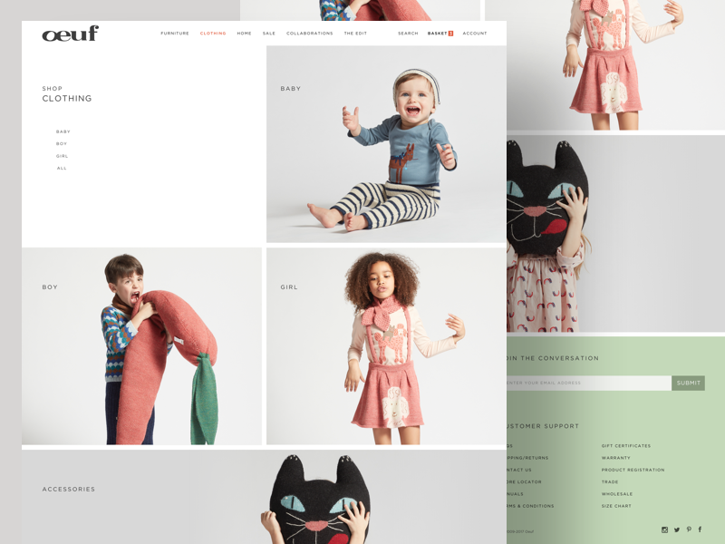 Clothes - Product Category website ux ui typography shopping shop photography furniture ecommerce clean children cart
