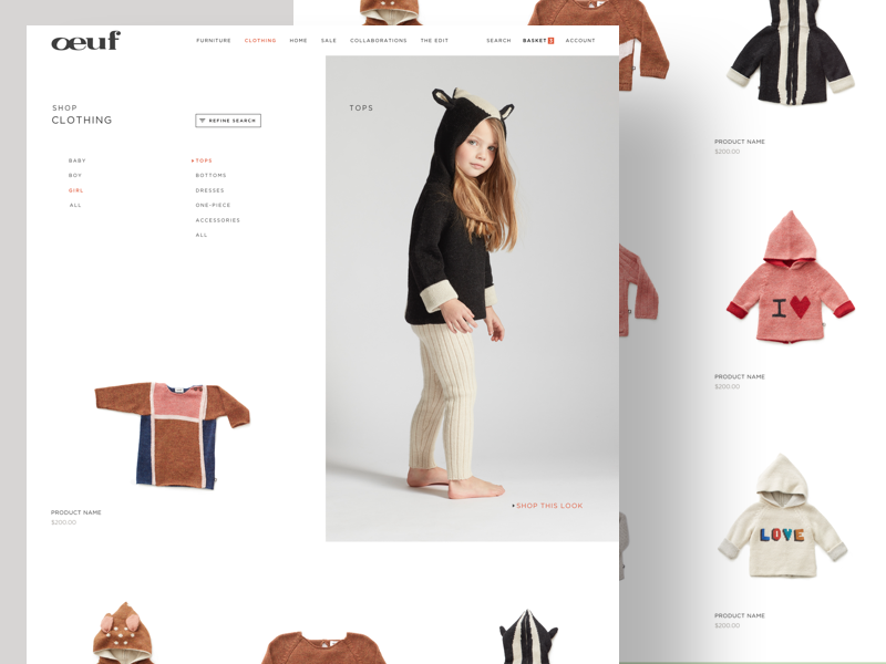 Clothes - Collection Lists website ux ui typography shopping shop photography furniture ecommerce clean children cart