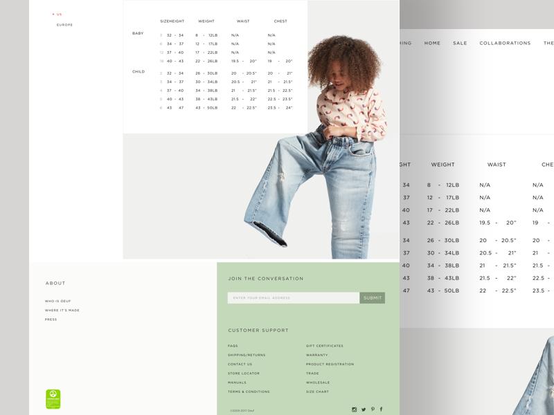 Sizechart website ux ui typography shopping shop layout furniture ecommerce clean children cart