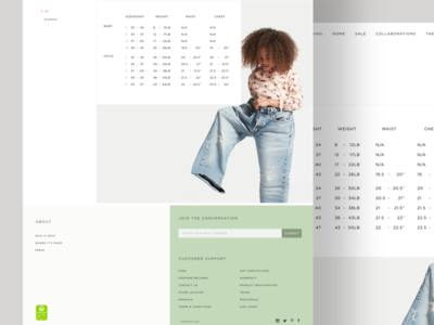 Sizechart website ux ui typography shopping shop layout furniture ecommerce clean children cart