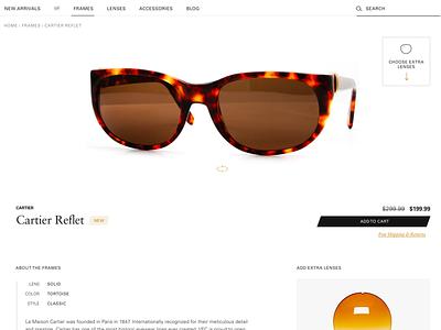 Vintage Sunglasses retail shopping site website retro vintage product ux ui clean eyewear sunglasses ecommerce