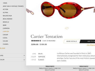 Quickview site website minimal shopping popup quickview eyewear sunglasses ecommerce