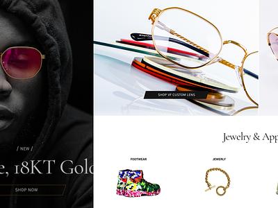 Homepage shopping retailer landing homepage sunglasses website ux minimalistic typography ecommerce