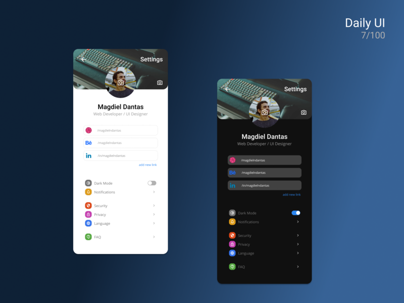 Daily UI #007 • Settings app page settings 007 design ux ui dailyui