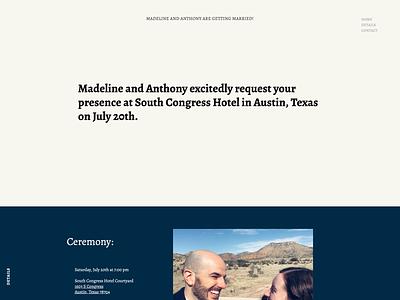 A Wedding Invite design typography ui ux wedding invitation webflow austin texas weddings