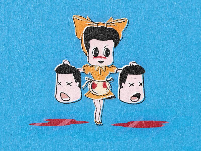 Ama retrosupplyco retrosupply retro illustration retro vintage bow skirt polkadots polkadot severed heads fifties 50s housewife lady ama illustration vector design