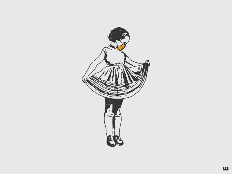 Girl with Mask little girl vintage dress masks covid19 covid coronavirus surgical mask girl mask illustration vector design