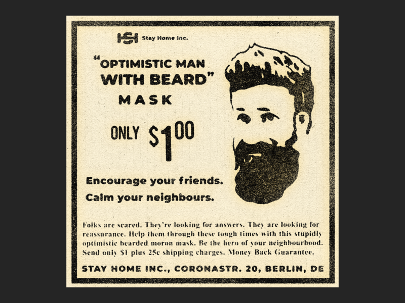 Optimistic Man with Beard Mask