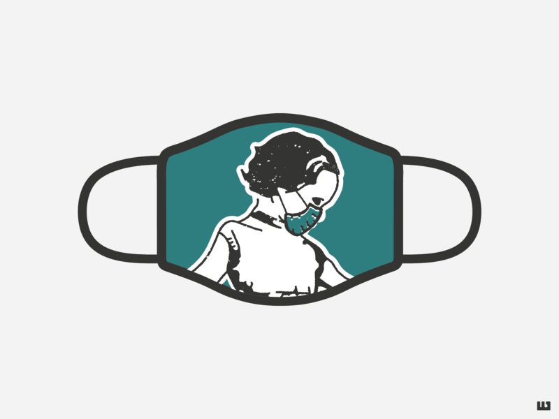 Design For Good Face Mask Challenge masked corona covid face mask girl illustrator challenge design for good mask branding illustration vector design