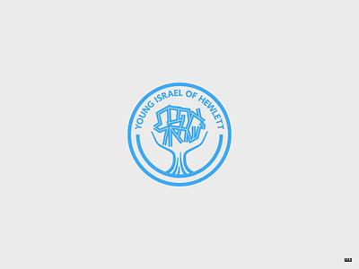 Young Israel of Hewlett new york hewlett israel orthodox jewish synagogue hebrew typography tree icon vector logo design logo design