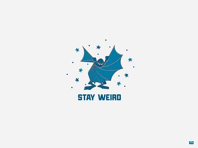 Stay Weird laugh smile fun magic weird batman roadrunner wile coyote toons illustration logo design logo vector design