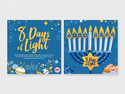 8 Days of Light - Channukah Social Calendar typography design