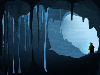 Gone Caving - Soda Straws cut paper exploration digital illustration illustration adventure caves cave