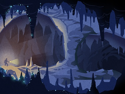Gone Caving - Big Room wacom wacom intuos photoshop environment digital illustration caves adventure caving cave illustration