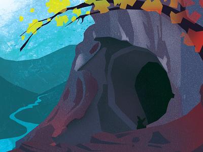 Gone Caving - Cave Entrance wacom intuos photoshop exploration illustration digital illustration adventure caving caves cave