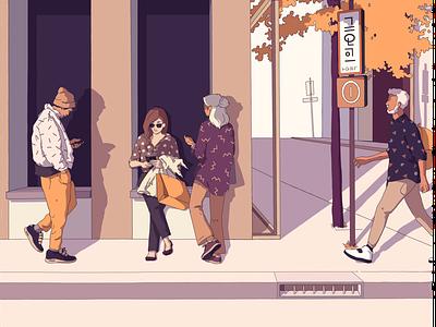 People autumn street illustration people