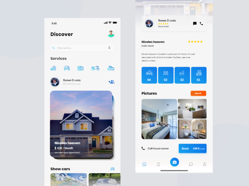 Upcoming Rental App Feed & Booking Screen by UIX69 on Dribbble