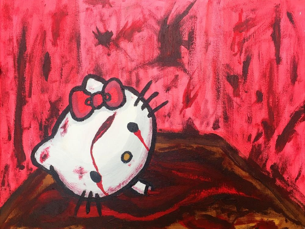 Goodbye Kitty pink japanese ritual satanic dark goodbye character childhood ruined murder blood death hello kitty acrylic painting arcylic