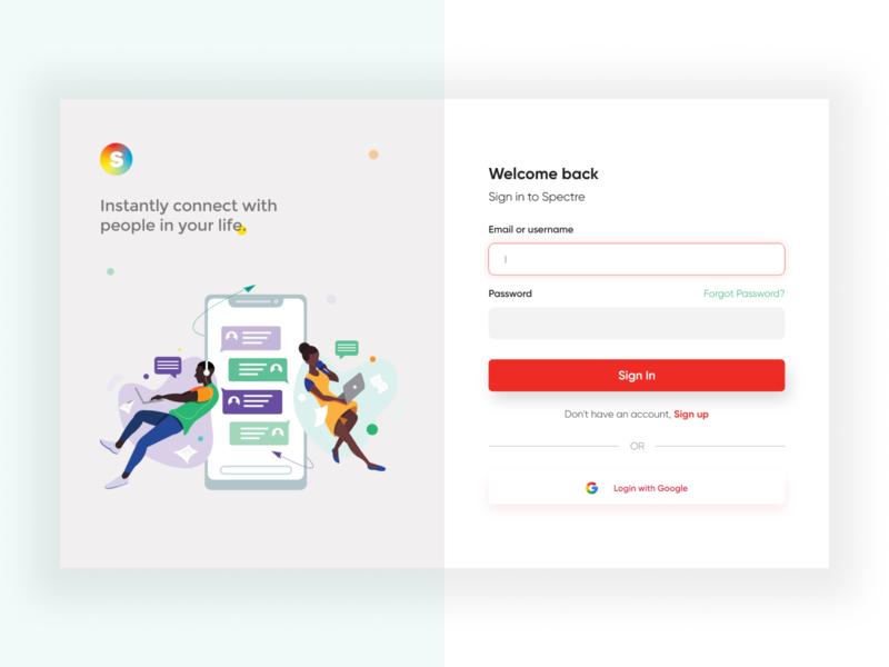 Chat, Messaging Login for Spectre V2 website design illustration chat messaging web interface user interface minimal ux ui