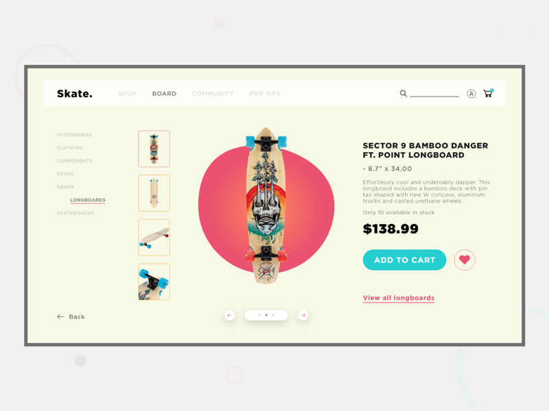 Skate. - Webstore V2 product design typography minimal e-commerce design user experience user interface uiux ux ui interaction webstore skateboarding skateboard website design web