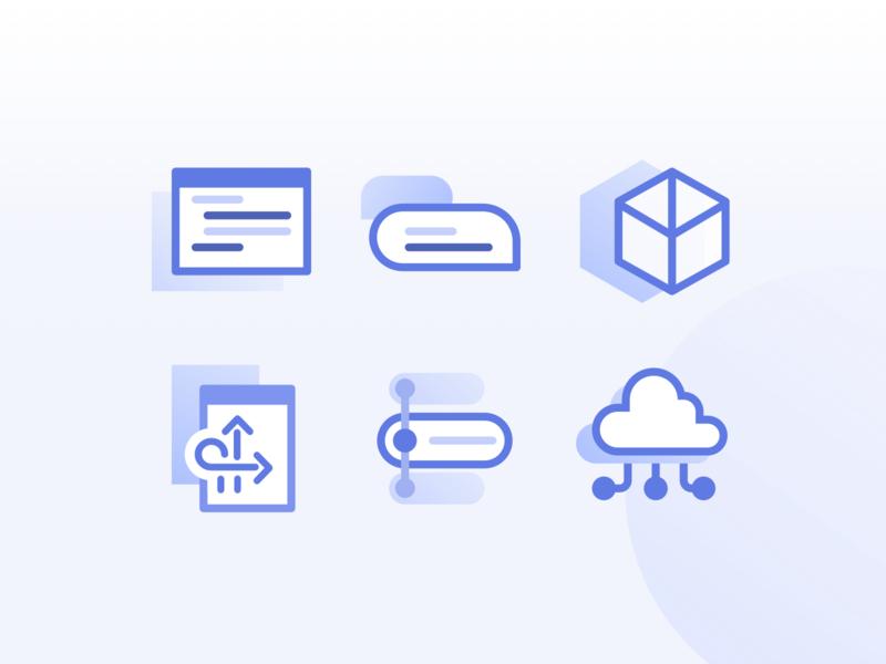 Dialogueflow technical illustrator landingpage icons