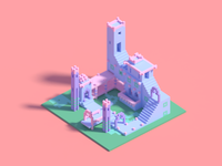 Voxel illustration of Monument Valley