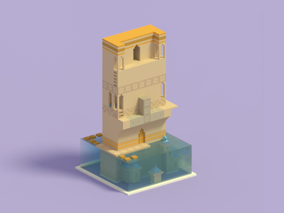 Voxel illustration of Monument Valley voxel monument valley illustration