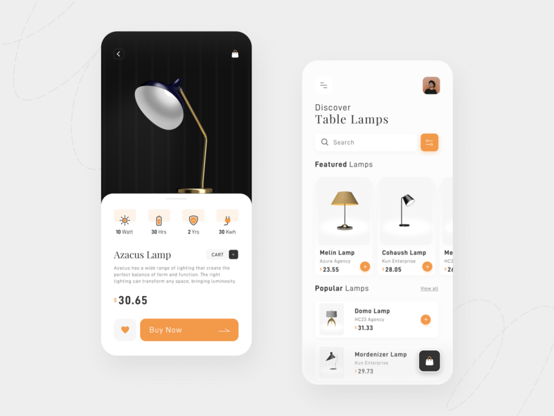 Lamp product App UI product lamp interfacedesign mobile app uxdesign ux figma app ui userinterface uiux uidesign design