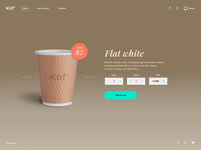 Kaf' simple coffee beverage purchase checkout lab exploration concept app desktop 3d design ux ui animation