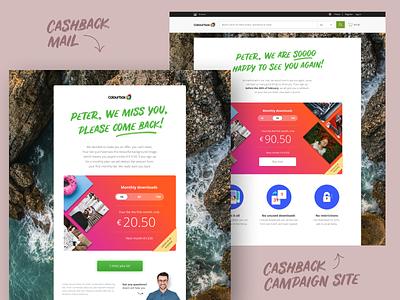 Cashback campaign handlettering colorful landingpage cashback email design campaign branding ui ux design