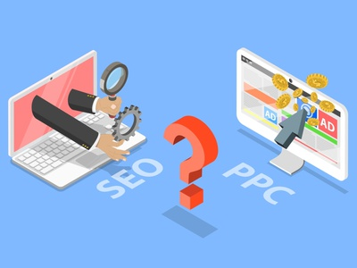 PPC vs SEO Web Flat Image flat web ui design vector ppc company ppc seo