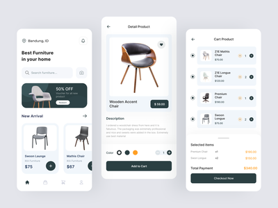 Furniture Shop App 🔥 grocery shopping web clean minimal uidesign app ecommerce chair furnituredesign furnitureapp furniture