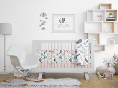 Nursery Beddings (Crib with and without Bumper) & Frames Pack crib bumper wall decal wall toys template sheets poster pillow picture frame photo nursery mockups mockup mock-up frames mockup frame mockup frame mock-up baby room baby
