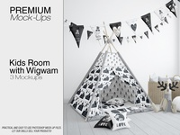 Kids Room Wigwam Tent Mockup