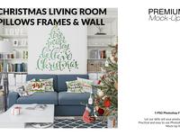 Christmas Living Room Set - Throw Pillows Frames & Wall