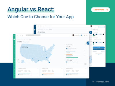 Angular vs React: Which One to Choose for Your App blog javascript frontend webdev webdevelopment app angular react web interface illustraion article ux ui graphic design design